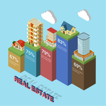 small office: Flat 3d isometric style thematic building estate elements infographics concept template. Mall office center residential hotel small business shop. Conceptual web site infographic collection.
