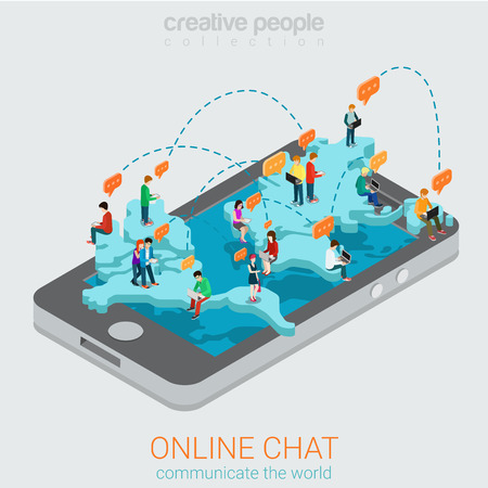 Online chat flat 3d isometric concept. Big smartphone world map and micro people chatting using laptop smart phone tablet. Creative people technology collection.