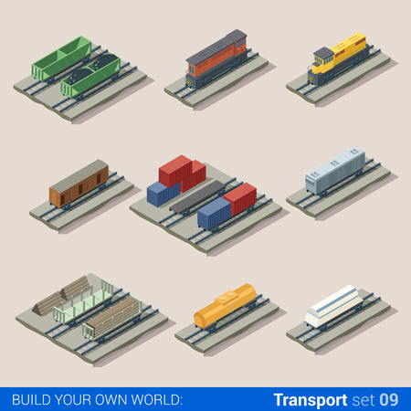 loco: Flat 3d isometric railroad locomotive carriage cistern tank transport building block infographic set. Transportation puffer loco coal wood container car. Build your own infographics world collection. Illustration