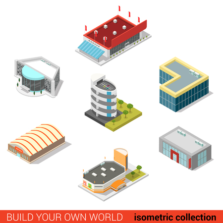 isometry: Flat 3d isometric public buildings block infographic concept. Ice hockey arena parking car dealership tent sale mall supermarket cinema. Build your own infographics world collection.