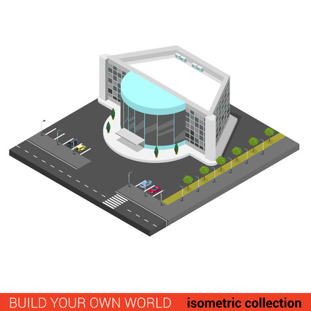 building block: Flat 3d isometric cinema entertainment mall disco night club building block infographic concept. Build your own infographics world collection.