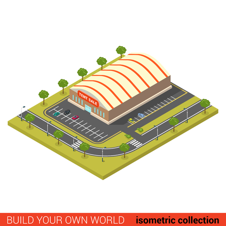 wholesale: Flat 3d isometric tent sale wholesale building block infographic concept. Build your own infographics world collection. Illustration