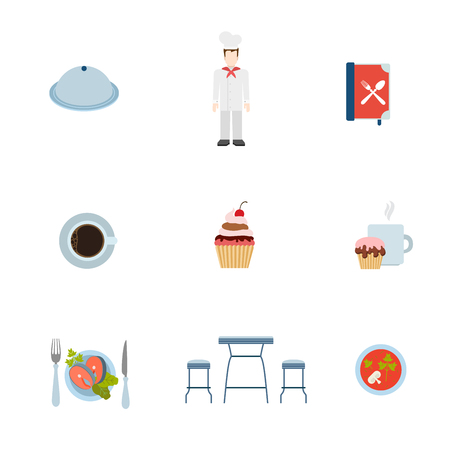 eatery: Flat style modern restaurant eatery cooking web app concept icon set. Tray salver cook chef menu coffee cake sugar salmon fish steak soup bar table stool. Website icons collection.