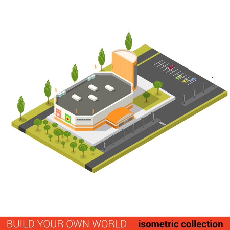 building block: Flat 3d isometric supermarket mall sale building block infographic concept. Build your own infographics world collection. Illustration