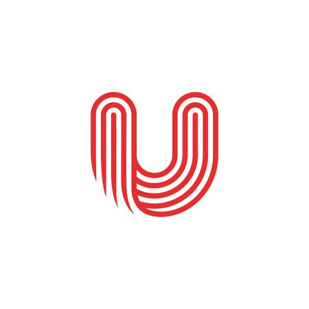 Lettre créative U Modèle de vecteur de conception de logo Linéaire. Type Caractère Symbole Logotype Logo