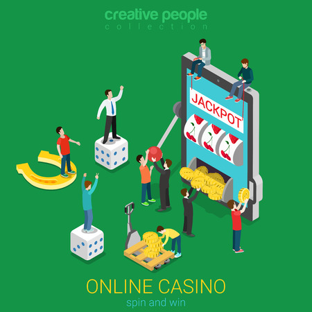 Online casino flat 3d isometric luck success gambling concept. Micro people and huge smart phone tablet device spin the wheel jackpot coin cube. Creative people collection Stock Illustratie