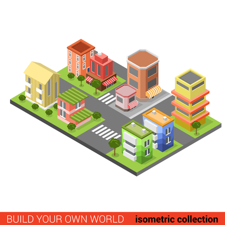 building block: Flat 3d isometric city street cross building block infographic concept. Build your own infographics world collection.