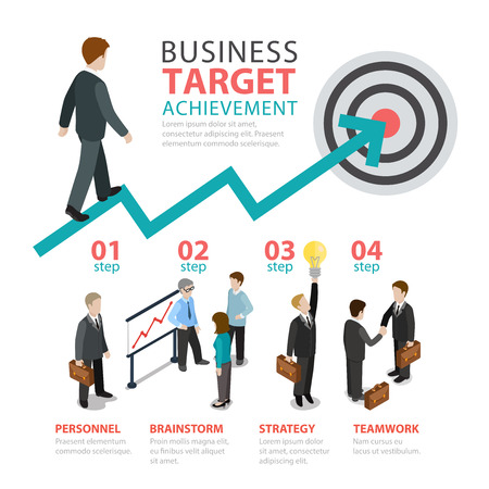 step by step: Business achievement target 4 step flat style thematic infographics concept. Personnel staff brainstorm strategy teamwork info graphic. Conceptual web site infographic collection.