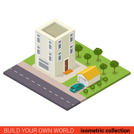 condominium: Flat 3d isometric creative modern three floor condo condominium hostel garage building block info graphic concept. Build your own infographics world collection.