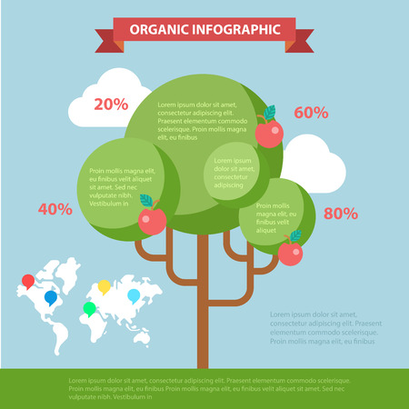 thematic: Organic life flat style thematic infographics concept. Global eco friendly tree branch shape lifestyle info graphic. Conceptual web site infographic collection. Illustration