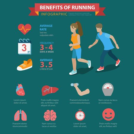thematic: Running benefits flat style thematic infographics concept. Health care sports exercise lungs brain muscle weight loss schedule info graphic. Conceptual web site infographic collection.