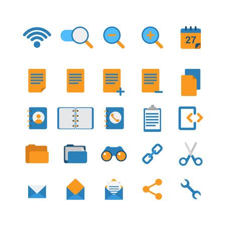 adentro y afuera: estilo plano creativa moderna aplicaci�n web concepto icono de tel�fono m�vil. Wi-Fi a la red de zoom en la direcci�n del calendario prism�ticos carpeta directorio telef�nico cut enlace de correo electr�nico opciones de mensaje de acci�n. Colecci�n de los iconos del sitio web. Vectores