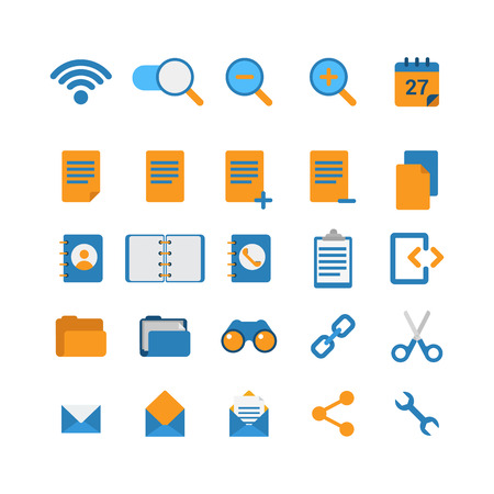 dentro fuera: Flat style creative modern mobile web app concept icon set. Wi-fi network zoom in out calendar address phone book folder binoculars cut link email message share options. Website icons collection.