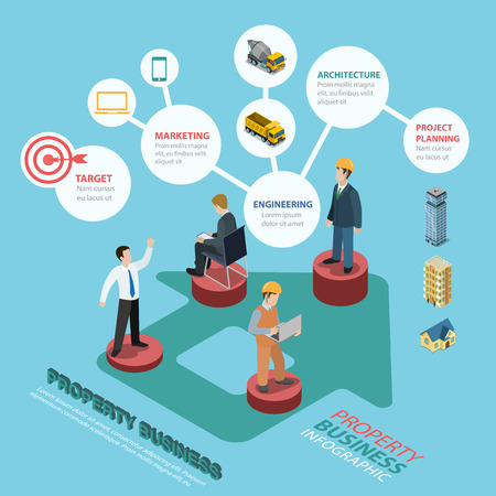 immovable property: Real estate property immovables assessment business flat 3d isometric style thematic infographics concept. Manager builder architect pedestals info graphic. Conceptual web site infographic collection.