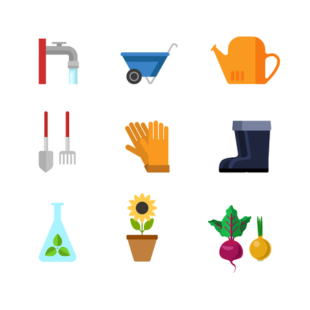 creative tools: Flat style creative modern gardening tools clothing web app concept icon set. Outdoor water faucet wheelbarrow watering can shovel rake gloves rubber boots sunflower test-tube seedling. Website icons. Illustration