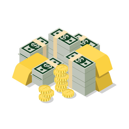 us coin: Flat 3d isometric heap of dollar banknote pack coin golden bar web infographics concept. Creative people collection.
