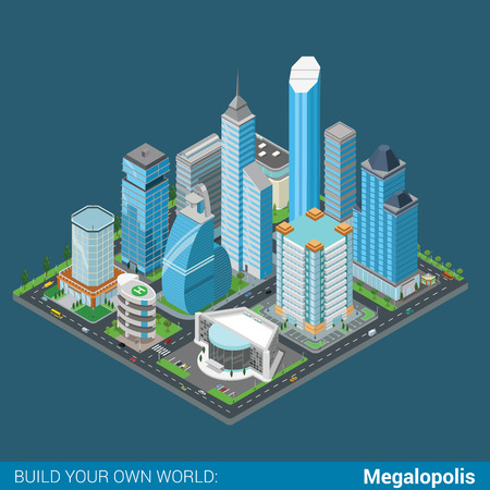 city center: Flat 3d isometric megalopolis business city center building block infographic concept. Skyscrapers mall municipal office parking concert entertainment hall. Build your own infographics world collection Illustration