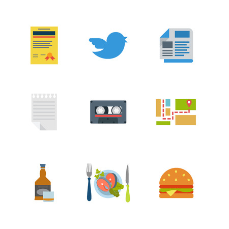 tweet: Flat style modern mobile restaurant web app concept icon set. License certificate bird tweet newspaper notepad audio cassette map route navigation whiskey whisky steak burger. Website icons collection