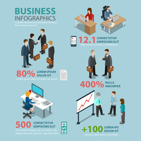 situations: Business situations flat style thematic infographics concept. Meeting manager secretary reception finance accounting team report info graphic. Conceptual web site infographic collection.