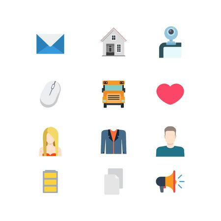 webcamera: Flat style modern mobile web app concept icon set. Email message envelope house web-camera mouse school bus heat like young blond girl suit man battery document loudspeaker. Website icons collection.