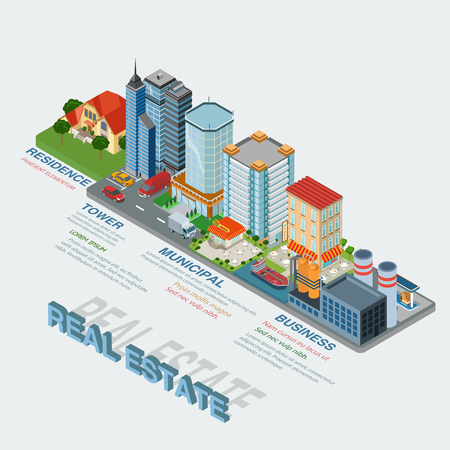 residence: Flat 3d isometric style real estate types thematic infographics concept. Residence business tower public municipal industrial info graphic. Conceptual web site infographic collection.