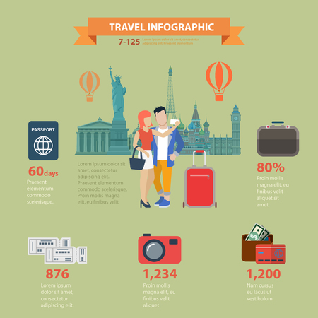 picture card: Travel vacation sightseeing flat style thematic infographics concept. Visa passport luggage ticket boarding pass photo picture card cash money info graphic. Conceptual web site infographic collection.