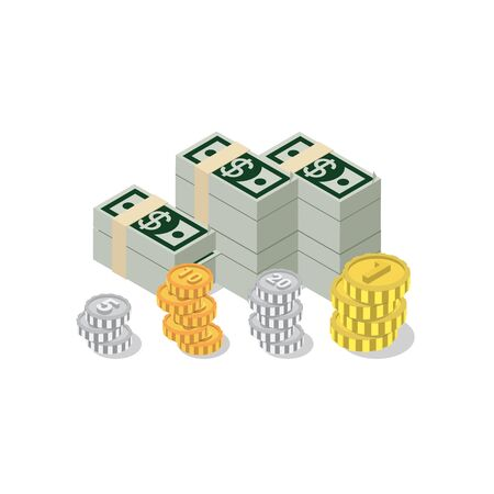 heap: Flat 3d isometric heap of dollar banknote pack coin web infographics concept. Creative people collection. Illustration
