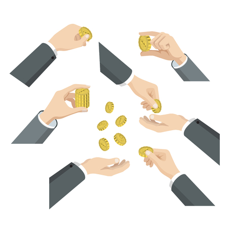 demonstrate: Flat 3d isometric set of hands with coins web infographics vector concept. Give take throw toss put in demonstrate. Creative people collection. Illustration