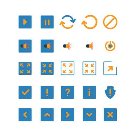 icon buttons: Flat style creative modern mobile web app concept icon set. Simple interface buttons play pause reload sound on off mute full screen enlarge check mark exclamation shield. Website icons collection.