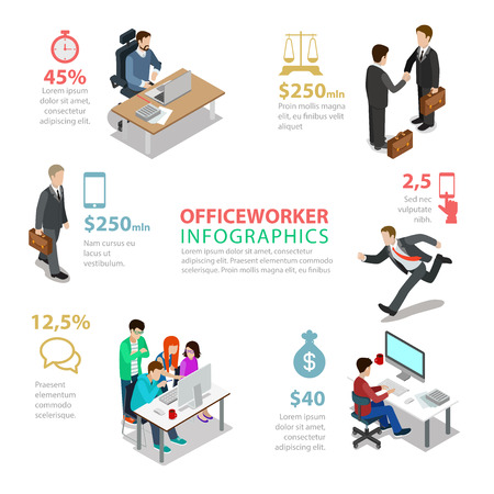 Flat style office worker thematic infographics concept. Paperwork meeting rush teamwork coffee break info graphic. Conceptual business web site infographic collection.