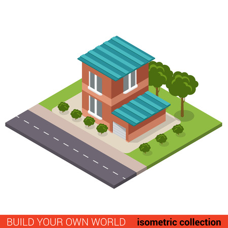 suburban home: Flat 3d isometric creative modern two floor building block with garage info graphic concept. Build your own infographics world collection. Illustration