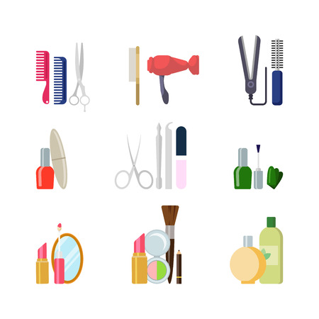 creative beauty: Flat style creative modern beauty shop salon web app concept icon set. Comb scissors hairdryer nail polish manicure makeup tools. Website icons collection.