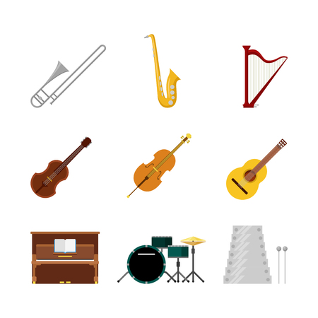 trombone: Flat style creative modern classic music band instruments web app concept icon set. Trombone saxophone harp sax guitar violin xylophone piano drum set cello. Website icons collection.