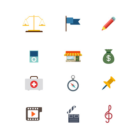 judicial: Flat style modern law judicial business web app concept icon set. Scales flag pencil mp3 player local shop store money bag emergency kit briefcase compass pin treble clef. Website icons collection.