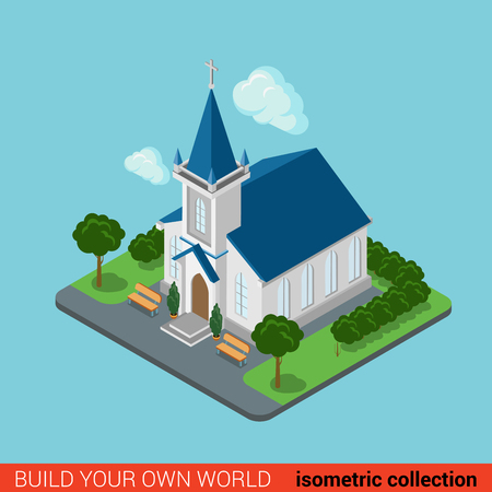 church 3d: Flat 3d isometric creative modern Christian church building block info graphic concept. Build your own infographics world collection. Illustration