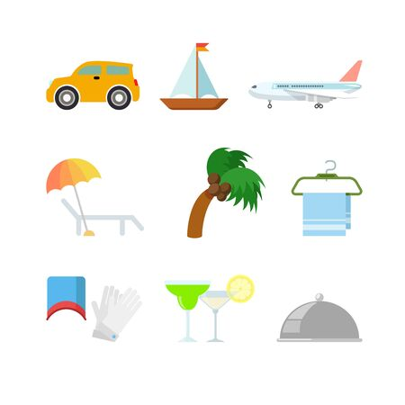 chaise longue: Flat style creative modern travel vacation web app concept icon set. Car boat yacht plane chaise longue lounge chair palm tree towel hanger cocktail. Website icons collection.
