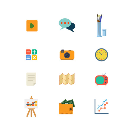 calculate: Flat style modern money finance report mobile web app concept icon set. Play video chat calculate watch tv time schedule camera gallery wallet banknote document. Website icons collection.