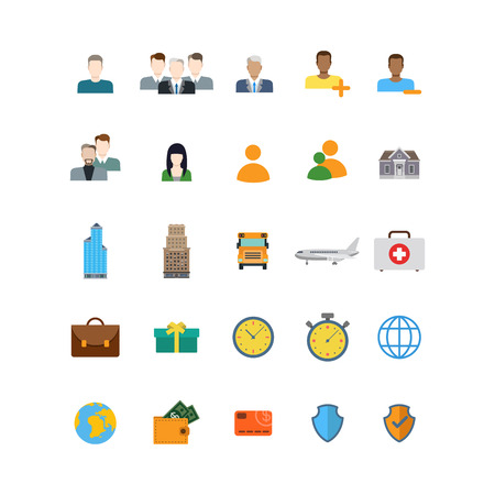emergency kit: Flat style creative modern mobile web app concept icon set. People profile skyscraper plane emergency medical briefcase kit time stopwatch globe wallet card shield protection. Website icons collection