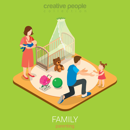 parenting: Family time parenting flat 3d isometric web infographic concept. Dad in child room with daughter and mom with son. Creative people family collection. Illustration