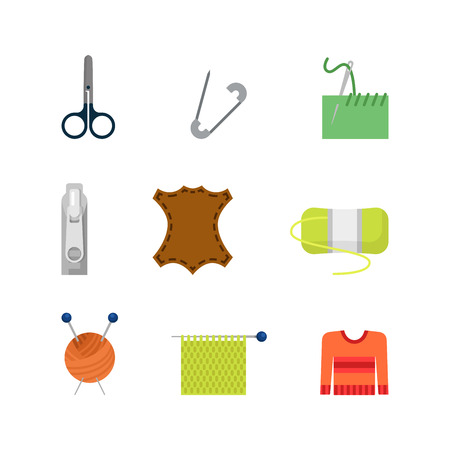 seam: Flat style creative modern tailor shop seamstress sewer web app vector concept icon set. Knitting needles wool skin sample zip stitch pin seam. Website icons collection. Illustration