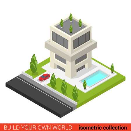 condominium: Flat 3d isometric creative modern three floor condo condominium hostel pool building block info graphic concept. Build your own infographics world collection.