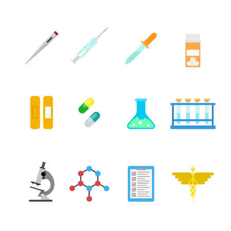 pharm: Flat style creative modern mobile chemical pharmaceutical web app concept icon set. Thermometer syringe pipette pills caduceus flask DNA test tube microscope infographics. Website icons collection.