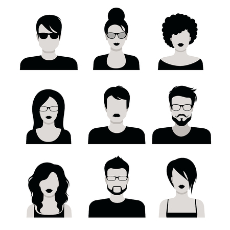 Flat style black and white people haircut vector icon set. Young male female hipster programmer designer beard mustache emo avatar collection. Vectores