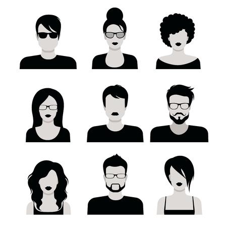 Wohnung Stil schwarz und weiß Menschen Frisur Vektor-Icon-Set. Junge männliche weibliche Hipster Programmierer Designer Bart Schnurrbart emo avatar Sammlung.