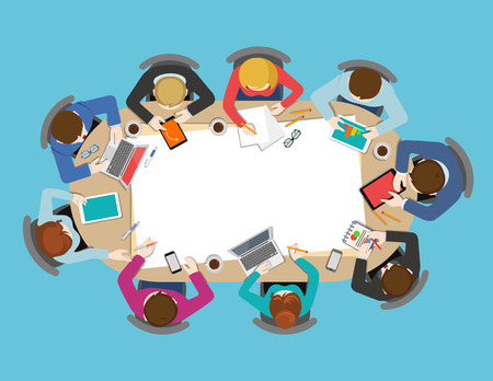 Office table top view business meeting flat web infographic concept vector. Brainstorm report planning background. Creative people collection.