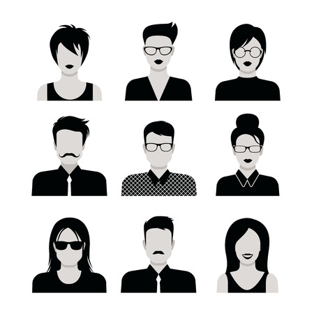 sexy young woman: Flat style black and white people haircut vector icon set. Young male female hipster programmer designer beard mustache emo avatar collection. Illustration