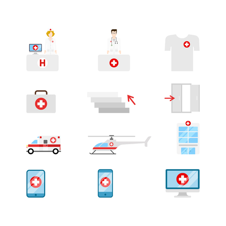 doctor tablet: Flat style creative modern mobile medical hospital transport people gadget computer web app concept icon set. Nurse doctor t-shirt emergency briefcase stairs ambulance helicopter tablet infographics.