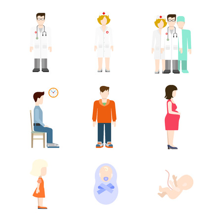 medical team: Creative flat style concept vector people icon set for pregnancy baby nursing medical team checkup. Creative people collection. Illustration