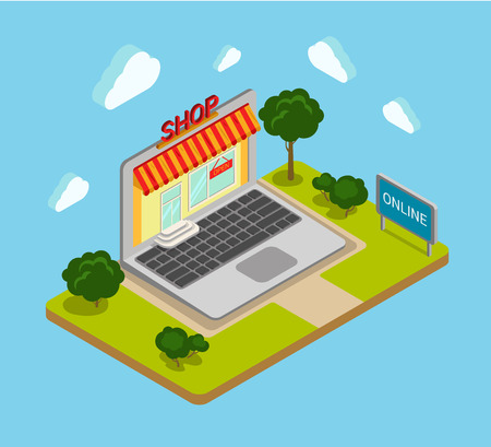 web shopping: Flat 3d isometric online shop shopping web infographics concept. Creative website blog picture banner collection.
