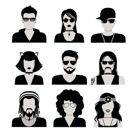 unrecognizable person: Flat style black and white people haircut vector icon set. Young male female hipster programmer designer beard mustache emo avatar collection. Illustration